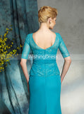 Sheath Mother of the Bride Dresses,Mother Dress with Sleeves,Long Wedding Guest Dress,MD00027