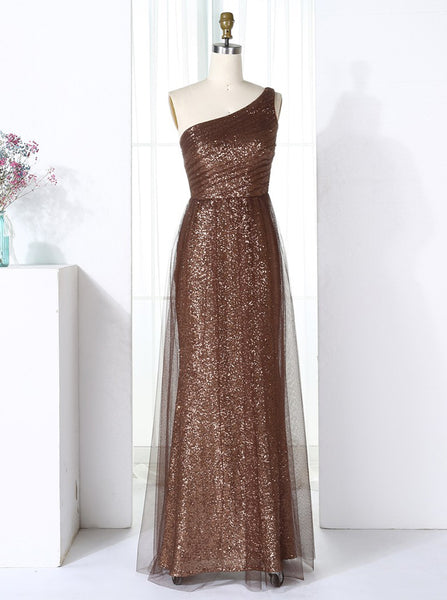 Sheath One Shoulder Bridesmaid Dresses,Sequined Bridesmaid Dress,Long Bridesmaid Dress,BD00270