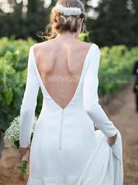Sheath Simple Bridal Gown,Open Back Wedding Dress with Sleeves,WD00342