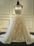 Sheath Wedding Dress with Detachable Skirt,Stunning Wedding Dress Illusion,WD00390