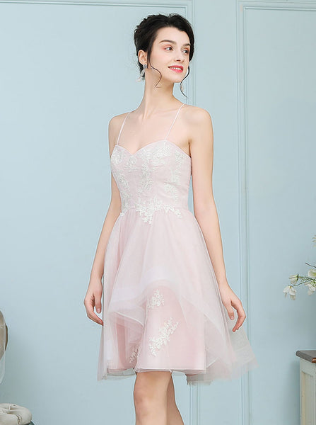 Short Bridesmaid Dresses,Tulle Bridesmaid Dress,Spaghetti Straps Bridesmaid Dress,BD00219
