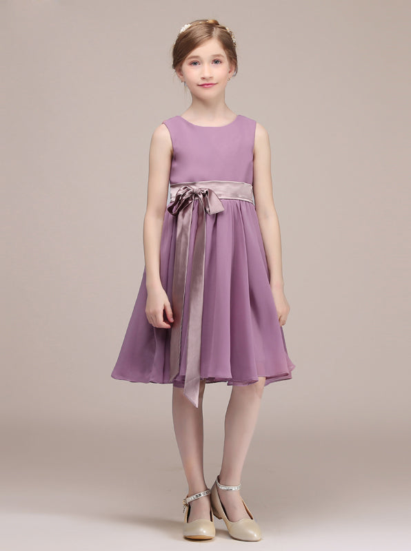 0ae16f534 Short Junior Bridesmaid Dress with Sash,Simple Junior Bridesmaid Dress ,JB00025