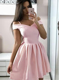 Pink Homecoming Dresses,Off the Shoulder Homecoming Dress,Modest Homecoming Dress,HC00163