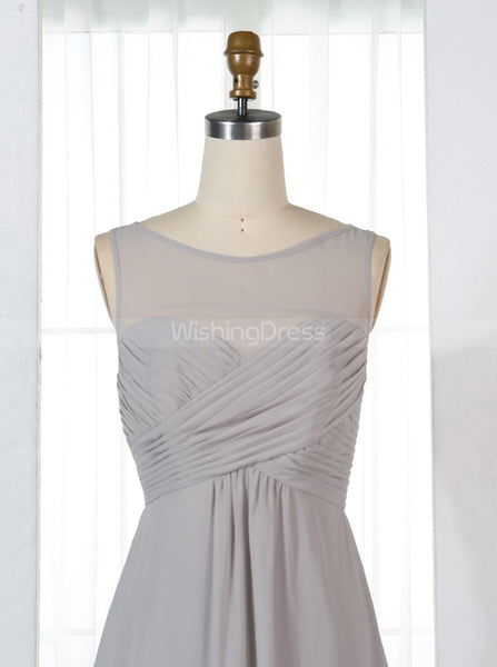 Silver Bridesmaid Dresses,Empire Waist Bridesmaid Dress,Elegant Bridesmaid Dress,BD00323
