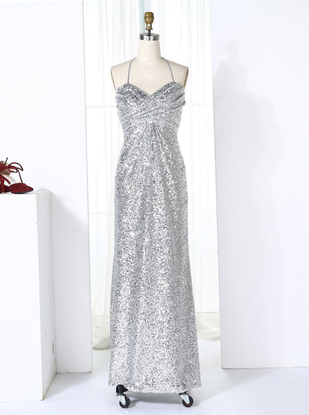Silver Bridesmaid Dresses,Halter Sequined Bridesmaid Dress,Long Bridesmaid Dress,BD00271