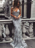 Silver Lace Evening Dress,Tight Mermaid Prom Dress,Open Back Evening Dress PD00098