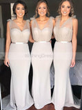 Silver Mermaid Bridesmaid Dress,Bridesmaid Dress with Straps,Satin Bridesmaid Dress,BD00126
