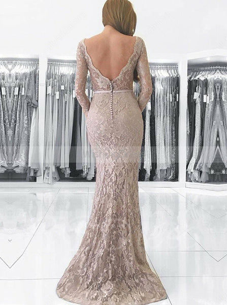 Silver Mermaid Lace Evening Dress with Long Sleeves,Elegant Long Prom Dress PD00152