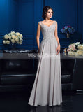 Silver Mother of the Bride Dresses,Long Mother Dress with V-neck,MD00063