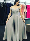 Silver Off the Shoulder Prom Dress,Floor Length Chiffon Prom Dress,Modest Evening Dress PD00045