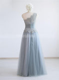 Silver One Shoulder Bridesmaid Dresses,Tulle Bridesmaid Dress,BD00341