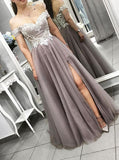 Prom Dress for Teens,Off the Shoulder Prom Dress with Slit,PD00397