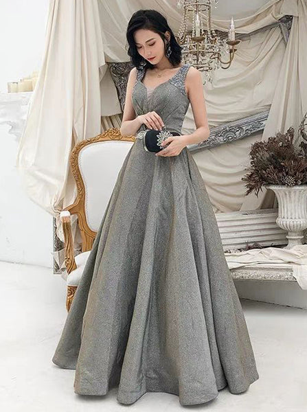 Silver Prom Dresses,Elegant Floor Length Prom Dress,PD00376