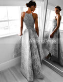 Silver Prom Dresses,High Low Prom Dress,Lace Prom Dress,Classic Prom Dress,PD00264