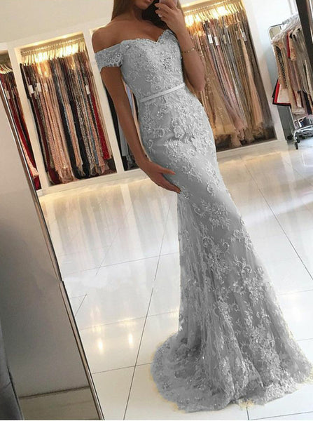 Silver Prom Dresses,Lace Prom Dresses,Mermaid Prom Dress,Off the Shoulder Prom Dress,PD00309