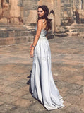 Silver Elastic Satin Prom Dress, Spaghetti Straps Prom Dress,Elegant Evening Dress PD00019