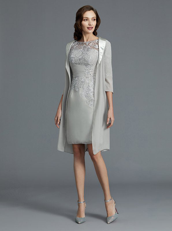 01e712d4f9a Silver Short Mother of the Bride Dress