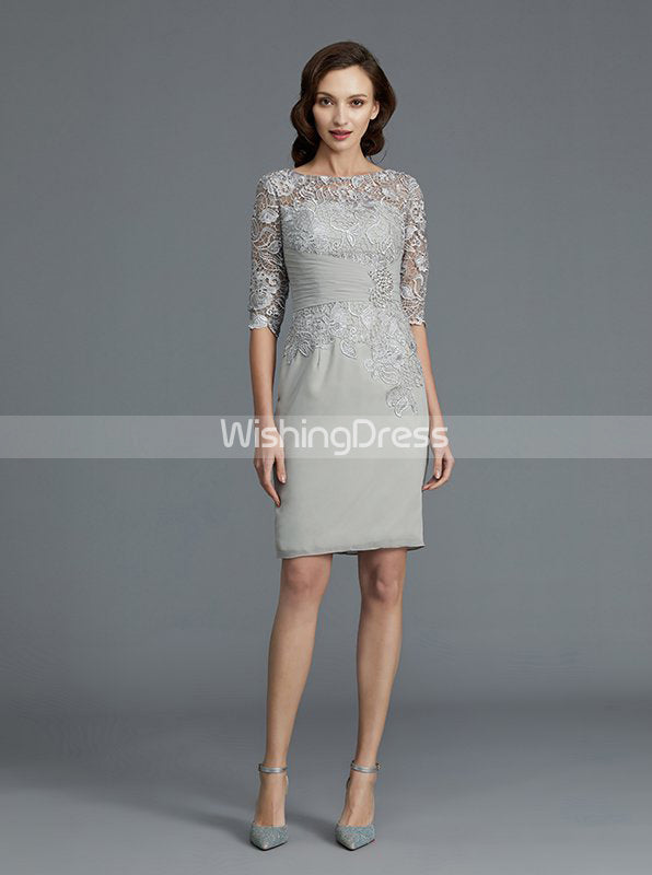 Silver Short Mother Of The Bride Dress Two Piece Mother Of