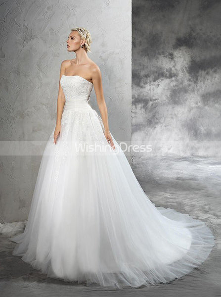 Simple Bridal Dress,Strapless Wedding Dresses,Tulle Wedding Dress,WD00280