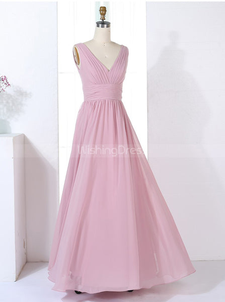Simple Bridesmaid Dresses,V-neck Bridesmaid Dress,Long Bridesmaid Dress,BD00317