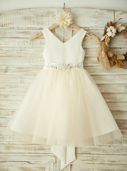 Simple Flower Girl Dress,Lovely Flower Girl Dress,Girl Party Dress with Sash,FD00121