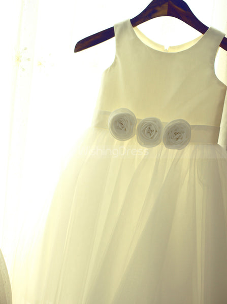 Simple Flower Girl Dress with 3D Flowers,White Flower Girl Dress,FD00069