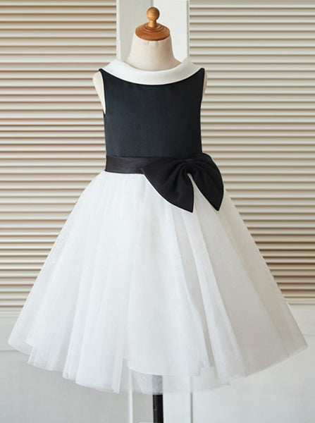 Simple Flower Girl Dresses,Two Tone Flower Girl Dress,Tea Length Flower Girl Dress,FD00041