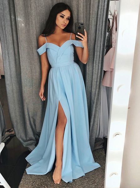 Simple Prom Dress with Slit,Satin Prom Dress,Long Prom Dress,PD00314