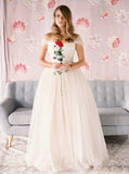 Simple Wedding Dress,Tulle Wedding Dresses,Off the Shoulder Bridal Dress,WD00085