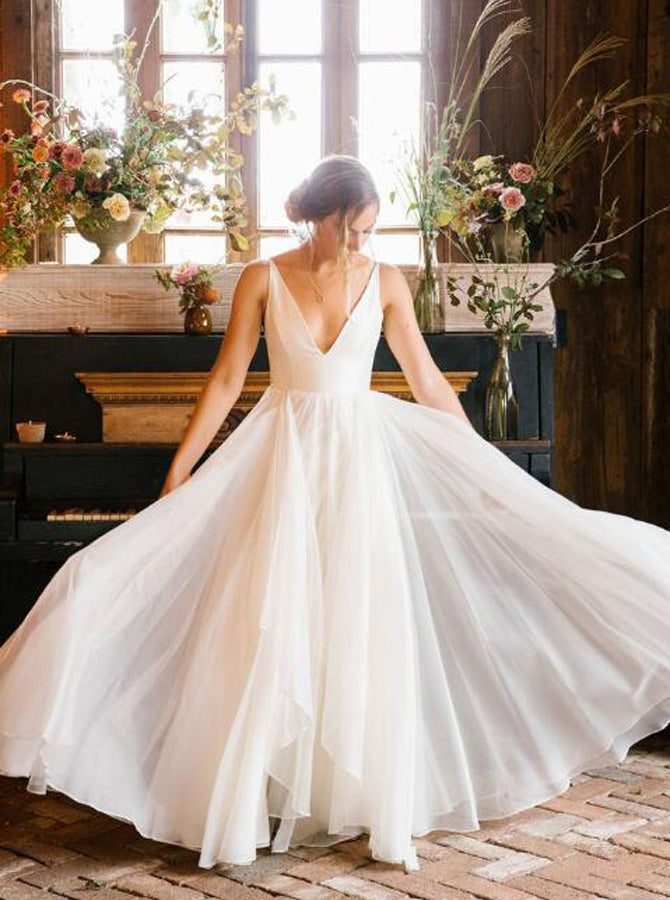 Simple Wedding Dresses Outdoor Rustic Bridal Dress Wd00336