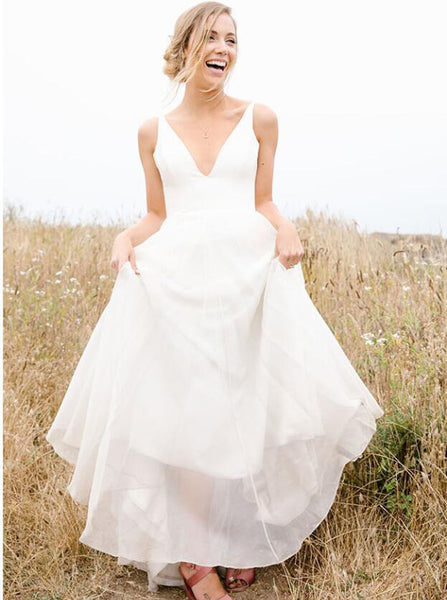 Simple Wedding Dresses Outdoor,Rustic Bridal Dress,WD00336
