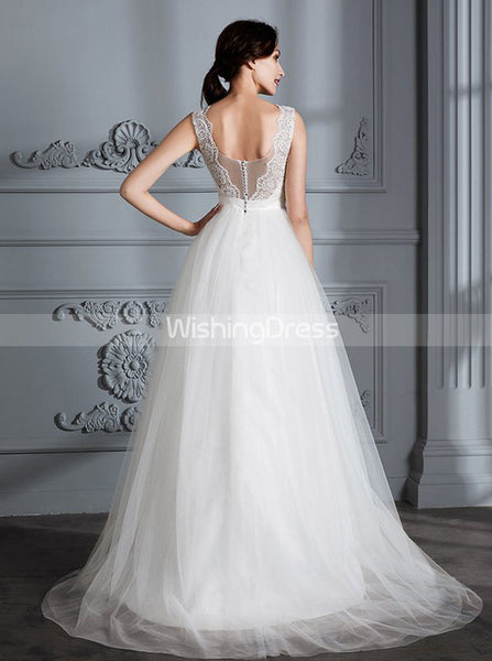 Simple Wedding Dresses,Tulle Bridal Dress,Princess Wedding Dress with Train,WD00290