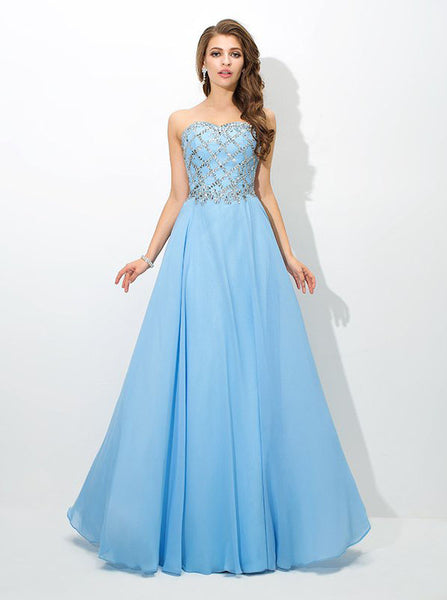 SkyBlue Prom Dresses,Beaded Prom Dress,Long Strapless Prom Dress,PD00333