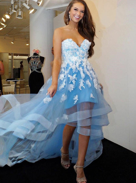 SkyBlue Prom Dresses,High Low Prom Dress,Ruffled Homecoming Dress,Strapless Prom Dress,PD00210