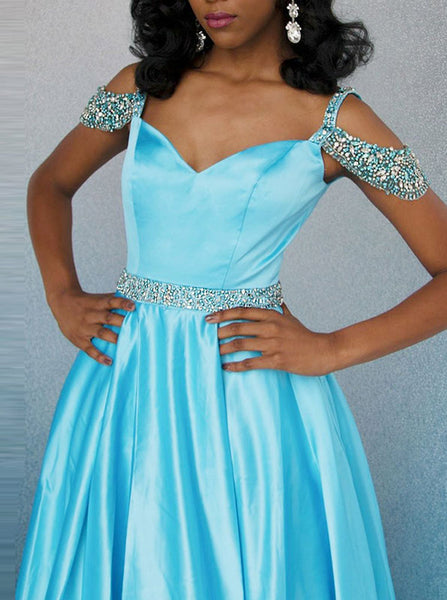 SkyBlue Prom Dresses,Satin Simple Prom Dress,Prom Dress with Slit,PD00351