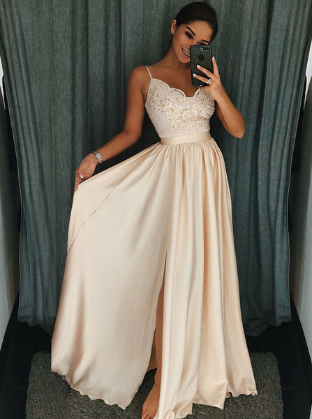 Spaghetti Straps Lace Bodice Prom Dress,Formal Evening Dress,Girl Graduation Dress PD00166