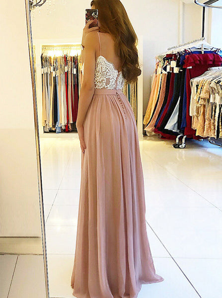 Spaghetti Straps Chiffon Prom Dress,Floor Length Formal Evening Dress,Wedding Guest Dress PD00130