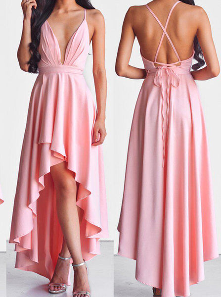 Spaghetti Straps High Low Homecoming Dress,Chiffon Backless Prom Dress,Deep V Evening Dress PD00131