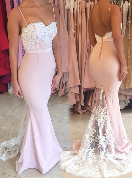 Spaghetti Straps Mermaid Evening Dress,Prom Dress with Lace Train,Charming Bridesmaid Dress PD00125