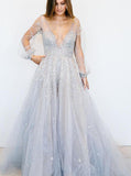 Sparkly Prom Dresses,Prom Dress with Sleeves,Silver Prom Dress,PD00259