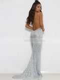 Sparkly Sequined Evening Dress,Silver Prom Dress with Train,Backless Prom Dress PD00109