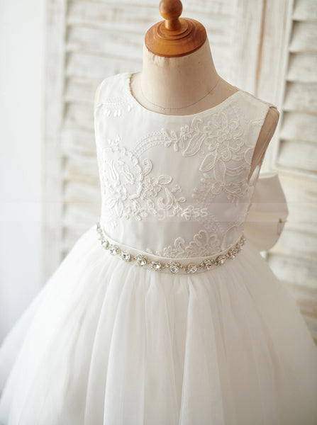 Tea Length Flower Girl Dresses,Tulle Flower Girl Dress,FD00103