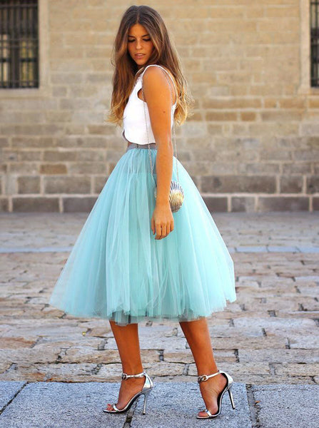Tea Length Homecoming Dresses,Two Piece Homecoming Dress,Tulle Homecoming Dress,HC00096