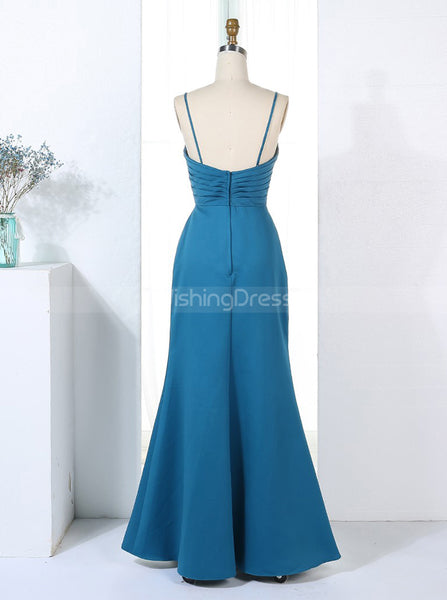 Teal Bridesmaid Dress,Satin Bridesmaid Dress,Fitted Bridesmaid Dress,BD00314