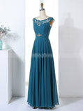 Teal Bridesmaid Dresses,Full Length Bridesmaid Dress,Elegant Bridesmaid Dress,BD00311