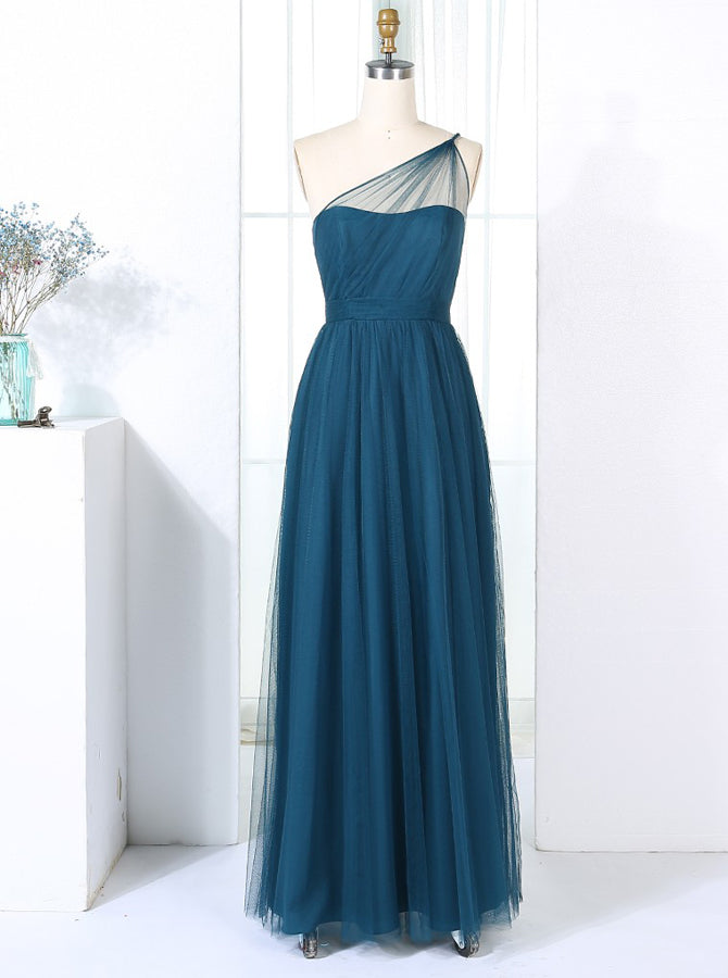 Teal One Shoulder Bridesmaid Dress Tulle Bridesmaid Dress