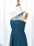 Teal One Shoulder Bridesmaid Dress,Tulle Bridesmaid Dress,Long Bridesmaid Dress,BD00203