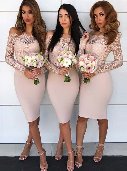 Bridesmaid Dress with Long Sleeves,Off the Shoulder Bridesmaid Dress,Short Homecoming Dress,BD00100
