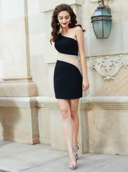 Tight Homecoming Dresses,One Shoulder Homecoming Dress,Mini Length Homecoming Dress,HC00170