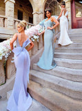 Trendy Bridesmaid Dress,Mermaid Bridesmaid Dress,Strappy Satin Bridesmaid Dress,BD00050